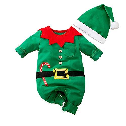 Unisexo Disfraz de Elfo Ropa,Disfraz Papa Noel Bebe Niño Recién Nacido Mono Bebe niñas y niños Mi Primera Navidad