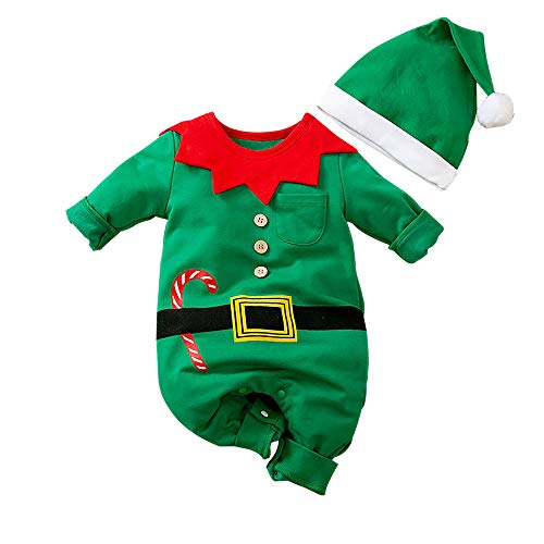 My First Christmas Baby Girl Boy Romper Newborn Clothes Long Sleeve Elf Jumpsuit + Hat Baby Outfits Set Green