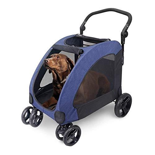 Buggy para Perros y Gatos, Carrito para Perros, Carrito para Perros, Cochecito para Mascotas, Fabricado en Material Impermeable, con Función Plegable y Práctica Bolsa de Compras ( Color : Blue )