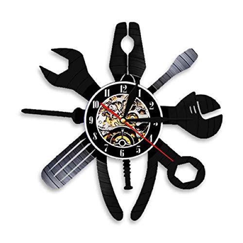 SKYTY Vinyl Schallplatte Retro-Uhr-Auto-Werkstatt Clock Wanduhr Handgefertigt Vintage Wanduhr Home Dekorationen-Mit Led-Licht