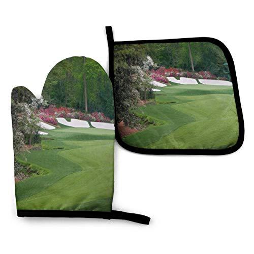 Ofenhandschuhe und Topflappen, Augusta Amen Eck-Golf, hitzebeständig, wiederverwendbar, für Küche, Backen, Grillen, Kochen (2-teiliges Set)