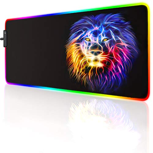 led Light Mouse pad pro Gaming Series RGB Mouse mat Large Leopard Mouse pad Colorful Extended Mousepad Gaming Anime Desk mat RGB (Lion(23.6x13.77x0.12inch))