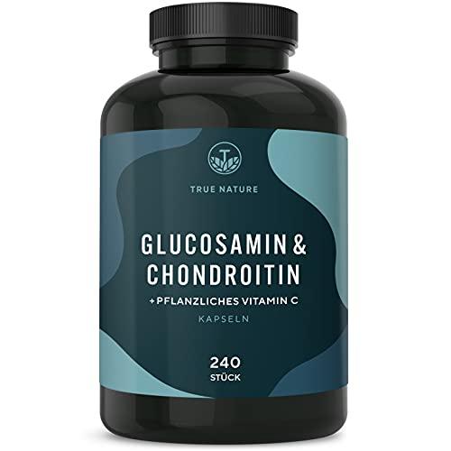 TRUE NATURE® Glucosamin & Chondroitin Hochdosiert + Vitamin C - 240 Kapseln - mit 3160mg pro Tagesdosis - fördert Kollagenbildung - Pharmazeutische Qualität - Laborgeprüft - Deutsche Produktion