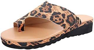 Sunyastor Platform Sandals for Women 2019 New Comfort Leopard Print Flip Flops Wedge Shoes Flats Beach Casual Slippers