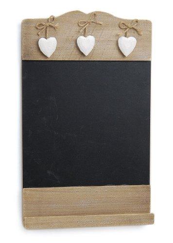 TEMPELWELT Landhaus Memotafel mit Deko Herzchen zur Beschriftung mit Kreide, 24cm x 38cm Küchentafel Kreidetafel zum Hängen