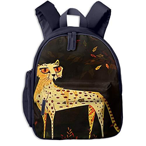 Mochilas Infantiles, Bolsa Mochila Niño Mochila Bebe Guarderia Mochila Escolar con Leopardo Animal Salvaje para Niños De 3 A 6 Años De Edad