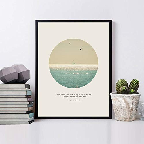 The Cure for Anything Is Salt Water, Sweat, Tears, or The Sea Quotes Art Print Fine Art Paper Poster Ocean Modern Wall Hanging 8x10inch No Frame
