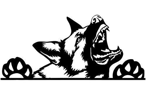 myrockshirt Bellender Deutscher Schäferhund 20cm German Sheperd Aufkleber Autoaufkleber Profi-Qualität ohne Hintergrund Sticker UV&waschanlagenfest