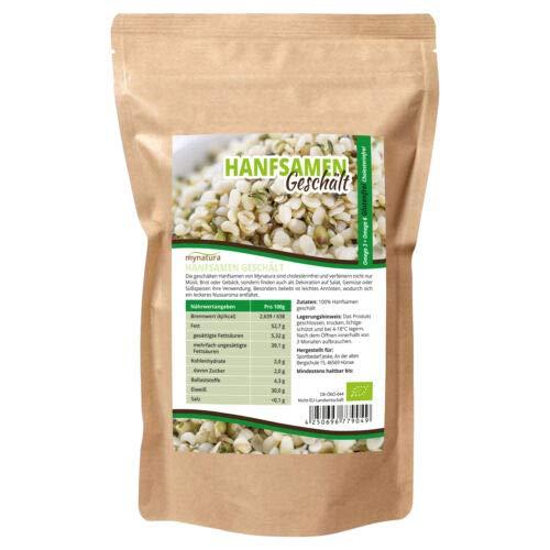 Mynatura Bio Hanfsamen Geschält 1000g Glutenfrei, Cholesterinfrei, Nährstoffreich Omega 3 + Omega 6 | Vegetarisch und Vegan | geprüfter Bio-Qualität (DE-ÖKO-044) ((1x1000g))