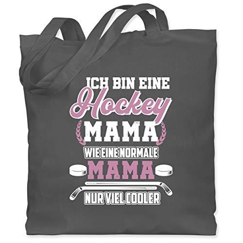 Shirtracer Mutter Geschenk Mama - Ich bin eine Hockey Mama - Wie eine normale Mama - Nur cooler - Weiß - Unisize - Dunkelgrau - WM101 - WM101 - Stoffbeutel aus Baumwolle Jutebeutel lange Henkel