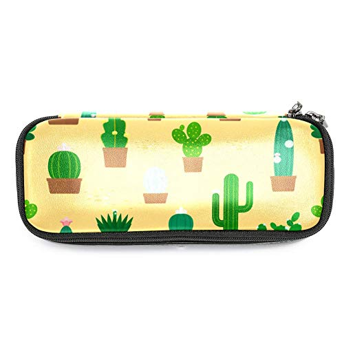Lederen potlood Pen Bag Case Houder Grote Capaciteit met Cactus Pot Plant Ideaal voor School/College/Uni.- Make-up Bag
