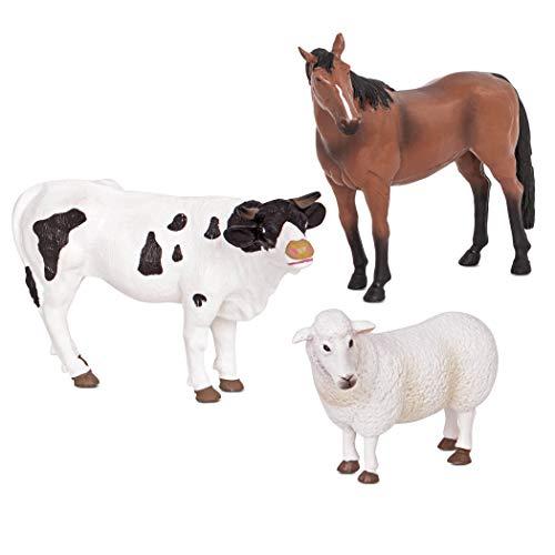 Terra by Battat – Farm Animals (Sheep, Bull & Horse) - Farm Animal Toys with Horse Toy for Kids 3+ Pc