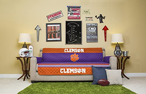 NCAA Clemson Tigers Unisex Ncaancaa Furniture Protector with Elastic Straps, Orange, Sofa