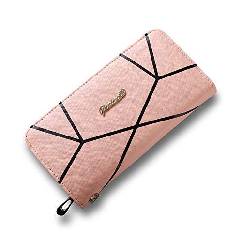 Portafoglio donna lungo modello geometrico con pochette da polso cinturino alla moda di grande capienza rosa