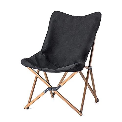 Silla de Camping Ultraligero portátil al Aire Libre Relax Folding Picnic Silla Madera Grain Siesta Pesca Playa Jardín Silla (Color : Black)