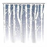 Sunlit Design Duschvorhang, abstrakter Wald, weiße Bäume mit Schnee, Badezimmer-Dekoration, Gardinen mit Farbverlauf, grau-blauer Hintergr&