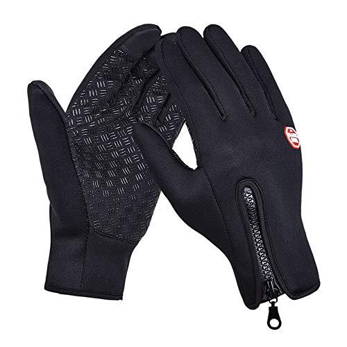 Alupper Winterhandschuhe für Männer Frauen, Touchscreen-Handschuhe Kaltwetter Winddichte Handschuhe (Schwarz, L)