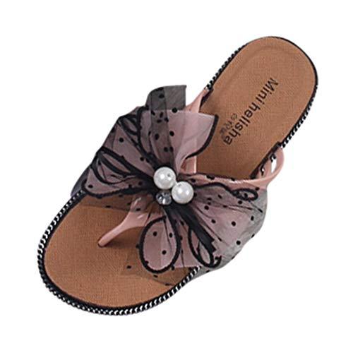Snakell Damen Bow Pearl Flip-Flops Flache Sandalen und Hausschuhe für Damen Mode Casual Perlen Bowknot Outdoor Strandschuhe
