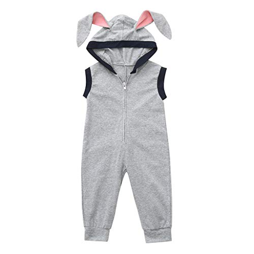 cover Bekleidungsset Baby Jungen Ostern Kostüm Osterhasen Strampler mit Hasenohr Kapuzen Ärmellose Bodys Overalls Jumpsuit