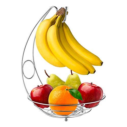 "Comfecto Fruit Basket Bowl with Banana Hanger, Decorative Fruit Bowl 10"" x 14"" Large Capacity Fruit Stand Holder Durable Storage Premium Chrome Finish Iron Fruit Container"