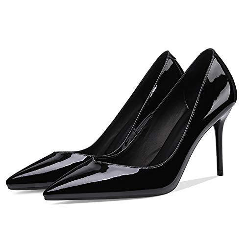RHSMY Zapatos de tacón alto para mujer, 9 cm/3.54 pulgadas señalados femeninos atractivos, (deslizante) para mujer Asakuchi zapatos suela de tendón (34-41EU) (39 UE, negro)