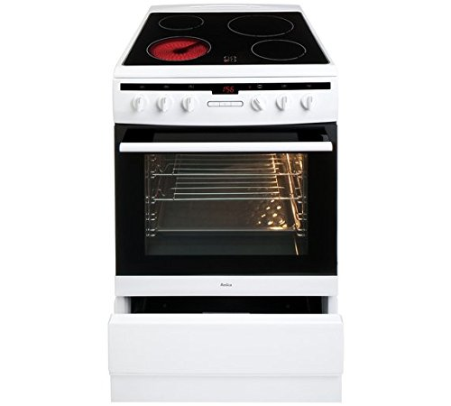 Amica 608CE2TAW Freestanding Ceramic Top Cooker, 65 Litre, 60 cm, White