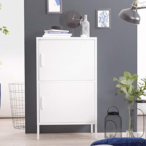 Yata Home Buffet Schrank Kommode Aufbewahrungsschrank aus Metall Stahl Türen Griffregale 2 Türen für Haus Büro Küche 23,6 x 15,7 x 40,2 Zoll weiß