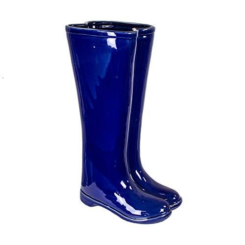 Sagebrook Home 10594 Ceramic Boots Umbrella Stand, Blue Ceramic, 12 x 7 x 19 Inches