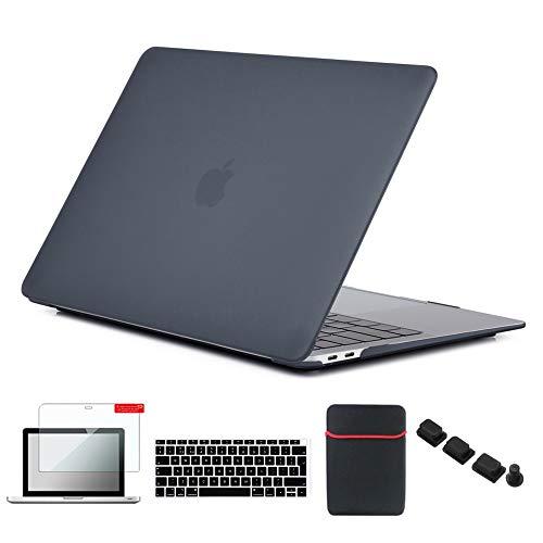 Se7enline - Carcasa rígida para MacBook, con Funda Blanda y Protector de Teclado de Silicona y Protector de Pantalla LCD Transparente y tapón Antipolvo Negro Negro New Macbook Air 13 Inch Model A1932