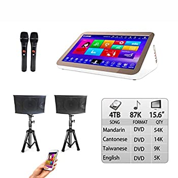 4TB HDD 87K Chinese English Songs 15.6  Touch screen karaoke player Microphone input and Sound Mixing Free Microphone included