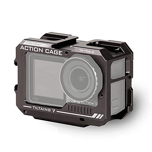 Tilta Pełna klatka na aparat kompatybilna z DJI Osmo Action, z wodoodporną obudową ochronną na zimną butę podstawową 52 mm pierścień filtrujący - Tilta szary TA-T06-D