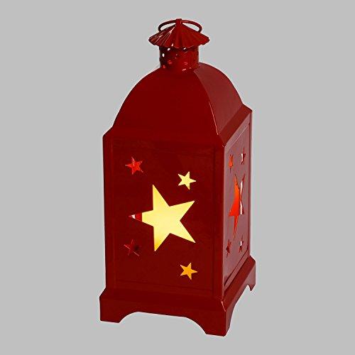Lanterne carrée en métal Rouge avec étoiles, h. 29 cm, Bougie LED à Pile, Blanc Chaud Télécommande 7F IR