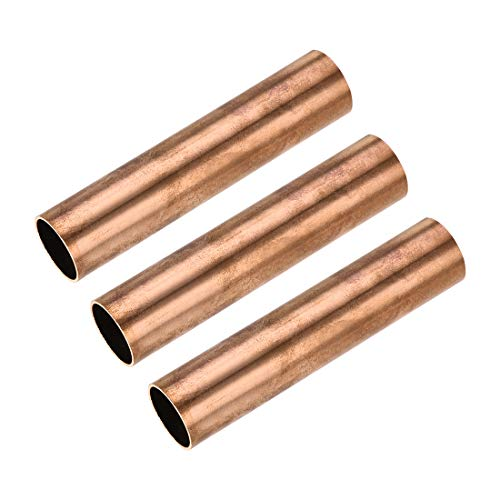 sourcing map Cobre Redondo Tubo 22mm OD 1mm Pared Grosor 100 mm Longitud Hueco Recto Tubo Tubería 3uds