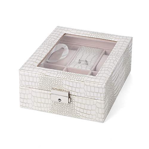 OIHODFHB Caja de almacenamiento de joyería blanca con diseño de cerradura