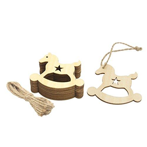 10 Stück Holzpferd Form Holz Anhänger Geschenkanhänger Basteln Weihnachten Party Deko