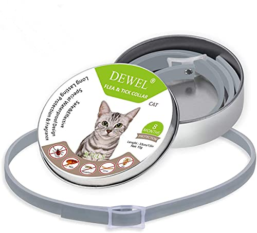 Collar Ajustable contra Pulgas Y Garrapatas para Gatos, 8 Meses De Protección, Collar Antiparasitario para Gatos, Collar Antipulgas De Aceite Esencial Antiparasitario Natural, Impermeable