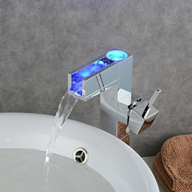 SHUILT Moderne Chrom Farbwechsel LED Waschbecken Wasserhahn