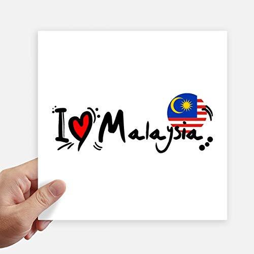 DIYthinker Amo la ilustración de la Bandera de Malasia Palabra del Amor del corazón Pegatinas Plaza 20cm Pared Maleta portátil Motobike Decal 4 Piezas 20cm x 20cm