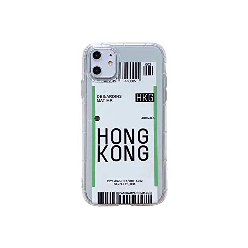 Funda para iPhone 12 MINI 7 8 Plus 11 Pro X XS MAX INS Coque New York Los Ángeles París Londres Seúl viaje City Air ticket Cover-Hong Kong-para iPhone 11promax
