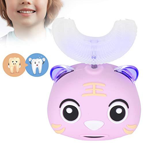 Elektrische Zahnbürste für Kinder in U Form, Zahnbürste mit Cartoon Muster für Kinder von 2 bis 12 Jahren, Zahnreinigungs Mundpflegewerkzeug