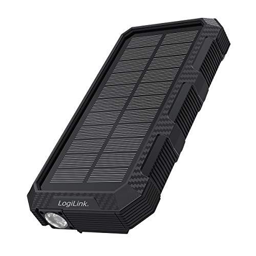 LogiLink PA0250 - SOLAR Powerbank mit 24000mAh Lithium-Polymer Akku zum Laden von Smartphones/Tablets/eBooks/MP3 etc, 2X USB-A + 1x USB-C + Notfall-Taschenlampe, IP Schwarz