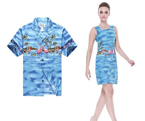 Hecho en Hawai Pareja Haciendo Juego Hawai Luau Aloha Camisa Vestido de Tanque en Rosa flamencos en Azul Hombre L Mujer S