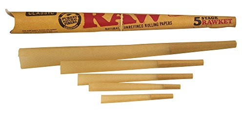 RAW Classic Natural Unrefined Pre-Rolled Cones, Variety Pack (5 Stage Rawket)