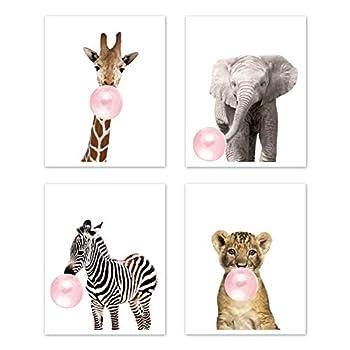 Sweet Jojo Designs Safari Jungle Animal Wall Art Prints Room Decor for Baby Nursery and Kids - Set of 4 - Elephant Giraffe Lion Zebra Pink Bubble Gum