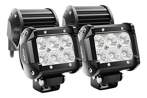 Nilight Barra de luz LED, 4 piezas de 10,2cm,18W 1260 lm LED inundación todo terreno de conducción, luces de niebla LED para Jeep, trabajo de iluminación para camioneta Van SUV ATV
