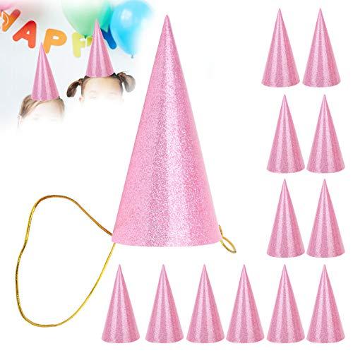 Glitter Feesthoedje Kegel Verjaardagshoedjes Goud Zilver Roze voor Verjaardagsfeestjes voor speciale gelegenheden(pink)
