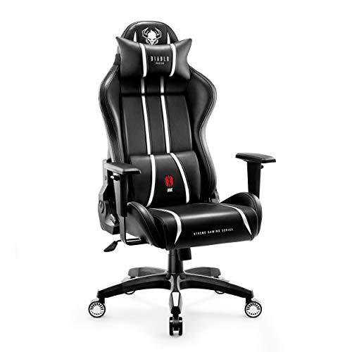 Diablo X-One 2.0 Silla Gaming Gamer Oficina Sillon de Ordenador Reposabrazos Ajustables Cuello/Cojin Lumbar Diseno Ergonomico (Blanco, XL)