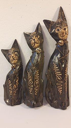 Drei Katzen Holzkatzen Set Figuren Katze Dekokatzen 34-30-24 cm