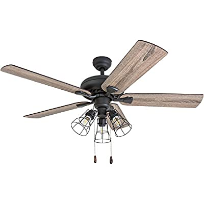 """Prominence Home 50581-01 Lincoln Woods Farmhouse Ceiling Fan, 52"""", Barnwood/Tumbleweed, Aged Bronze"""