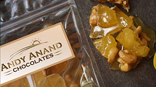 Andy Anand Old Fashioned Handmade Cashew Pineapple Brittle made with Real Honey Vegan Gift Boxed & Greeting Card Delicious-Crunchy-Divine Birthday Anniversary Christmas Valentines (1 lbs)